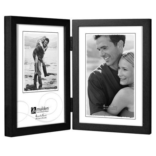 Malden Black Vertical Double 4x6 Frame - Picture Frames | PixM
