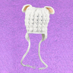 Baby Toque with Ear (White)